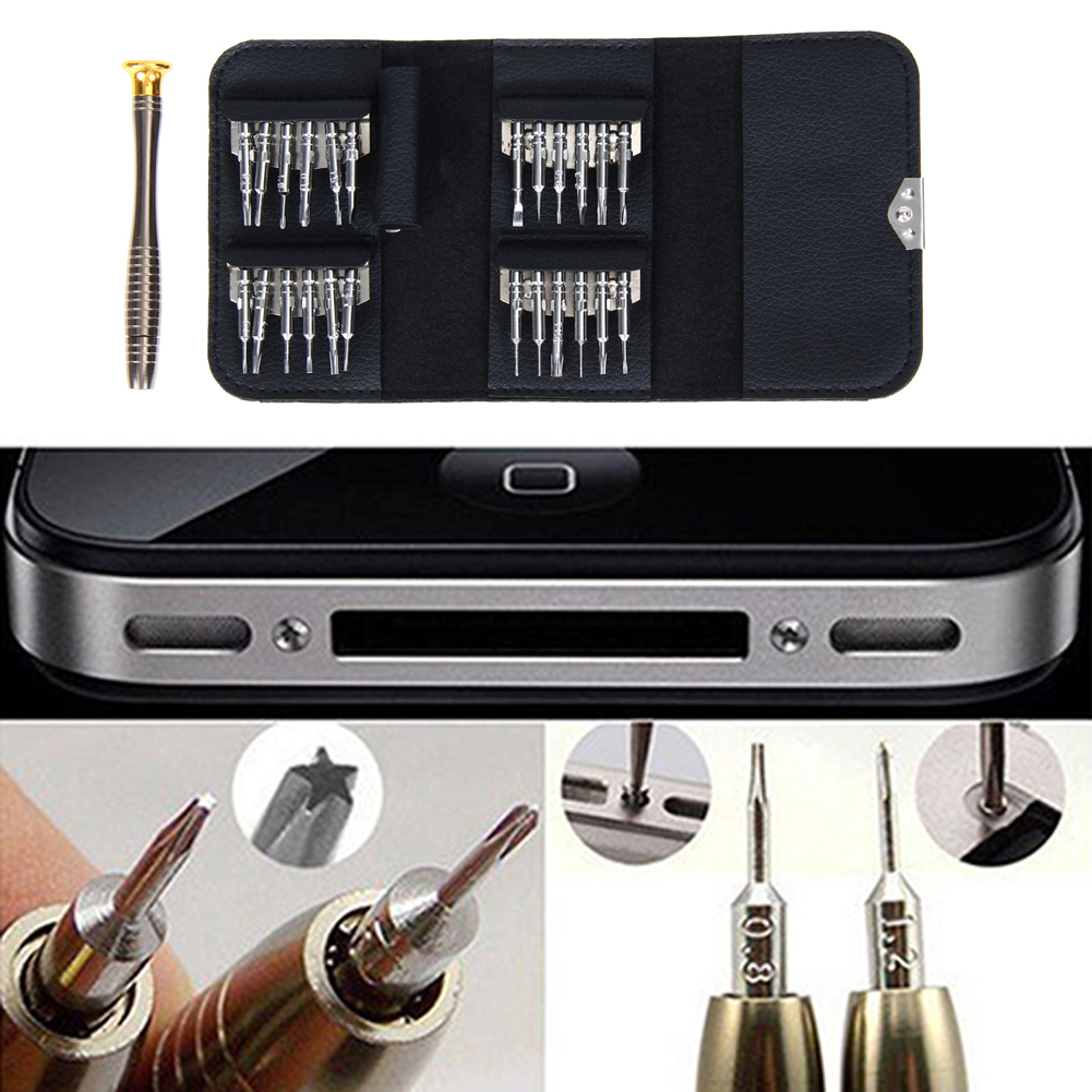 25 in 1 Repair opening Tool Kit Aid Pentalobe Torx Phillips Screwdrivers Set for iPhone PC Camera Watch Free Shipping(China (Mainland))