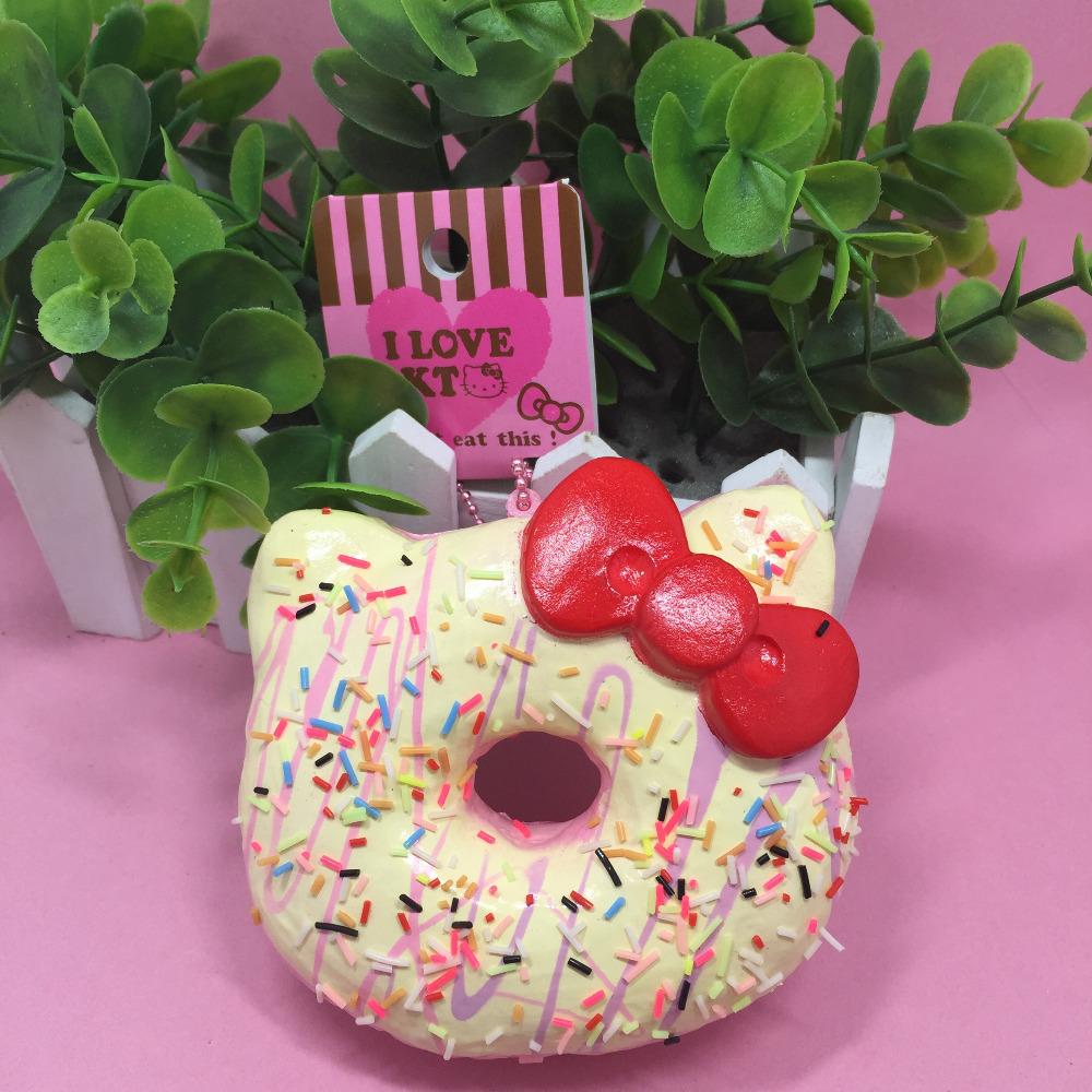 Rare Squishy Package : 1pc 10cm original package hello kitty squishy rare Jumbo Donut cell phone Strap Charm cute ...