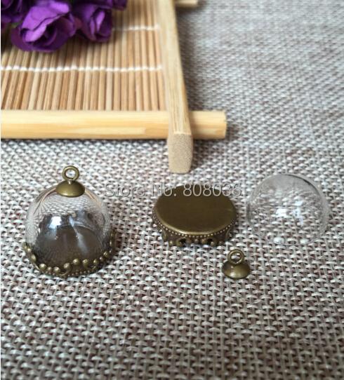 Free ship!! good 20sets/lot bronze 15/20/25mm half glass globe &lace base & cap set glass vial pendants glass bubble(China (Mainland))