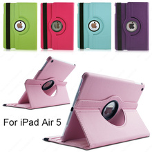 Tablet Case for iPad Air iPad 5 360 Rotation PU Leather case for iPad Air 1 Smart cover ipad 5 flip cases with stand function(China (Mainland))