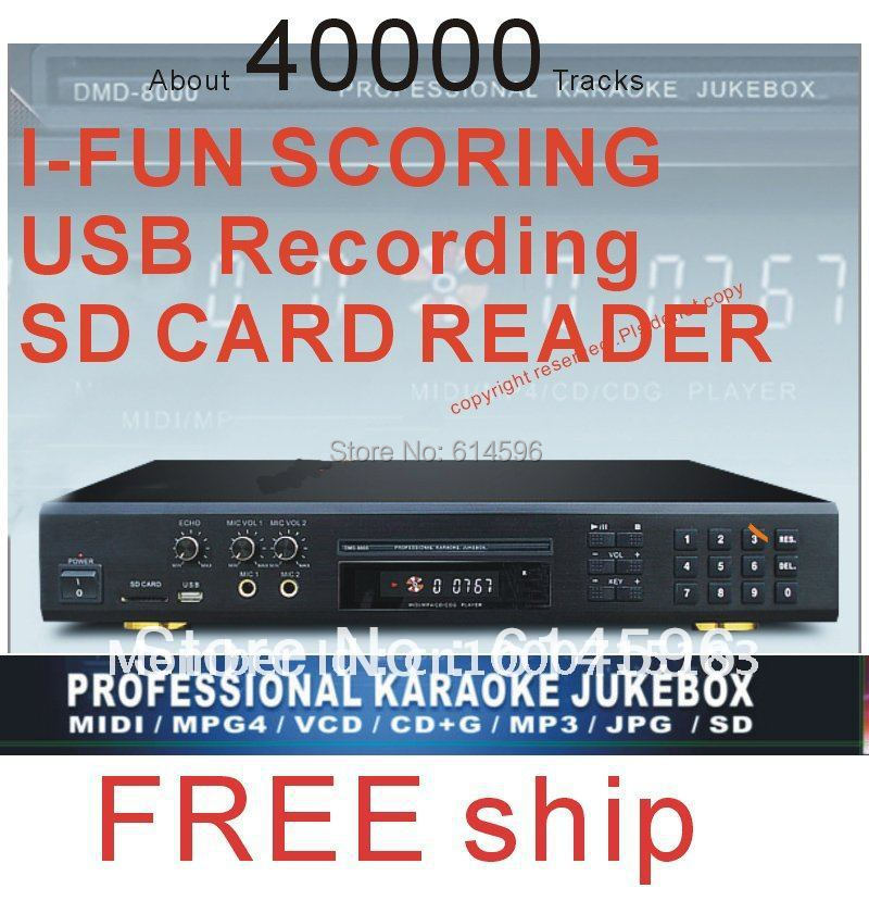 MIDI DVD Karaoke Player Machine system with 40000 songs DVD/DviX 2Mics karaoke Recorder,Play song from USB /SD card/Disc(China (Mainland))