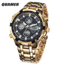 Full Steel Gold Watch Mens Military Sport Wristwatch Led Digital Back Light Watches Men Relogio Masculino