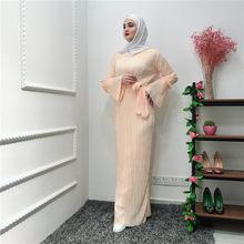 המוסלמי מקומט עיפרון חצאית Plissée מקסי שמלת חצוצרת שרוול העבאיה גלימות ארוכות טוניקת אמצע מזרח הרמדאן ערבי אסלאמי בגדים(China)