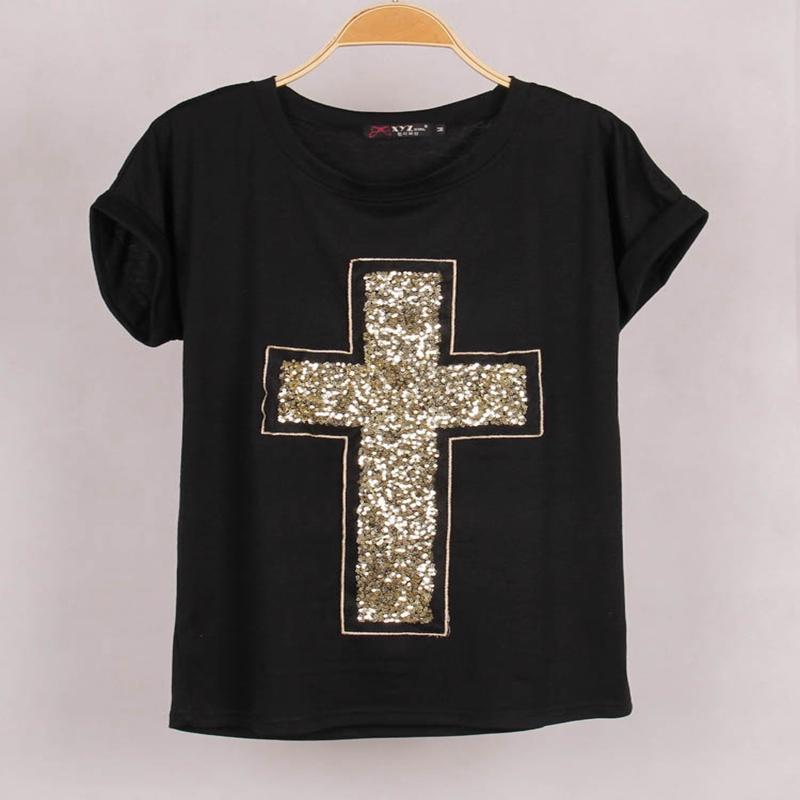 Free Shipping Casual Women Cross <font><b>Sequined</b></font> <font><b>T</b></font> <font><b>shirt</b></font> Blusas Short Bat <font><b>Sleeve</b></font> Stretch Summer <font><b>girl</b></font> Tshirt women cross clothes