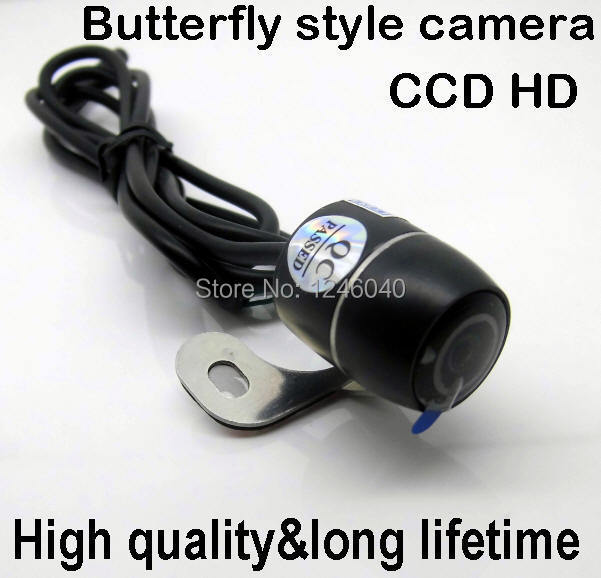CCD HD universal fit butterfly style Car Sideview Rearview reversing camera waterproof 100% metal housing 120 wide view angle(China (Mainland))