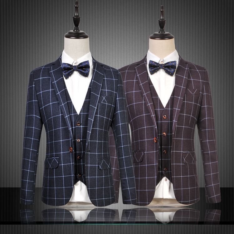 The new 2015 mens business casual checked suit three-piece suit fashion, cultivate ones moralityОдежда и ак�е��уары<br><br><br>Aliexpress