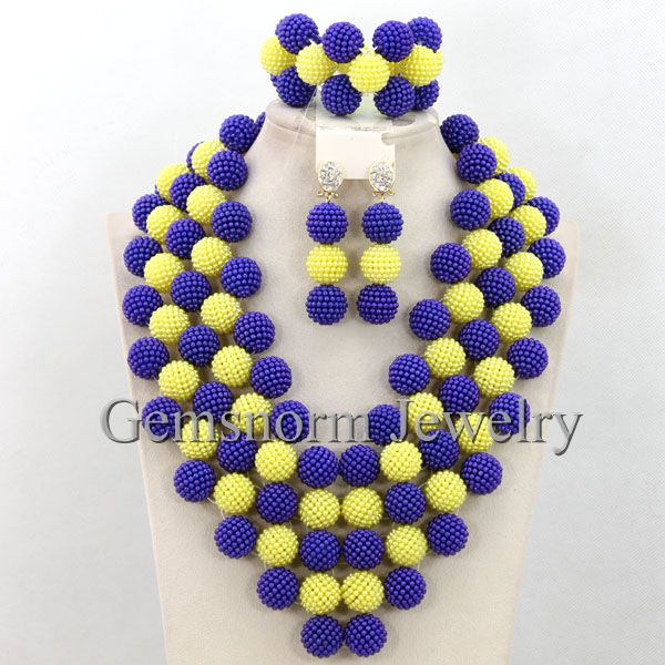 Royal Blue Yellow Chunky Statement Necklace Set 2015 Nigerian African Costume Beads Bib Necklace Jewelry Set Free Shipping WB700<br><br>Aliexpress
