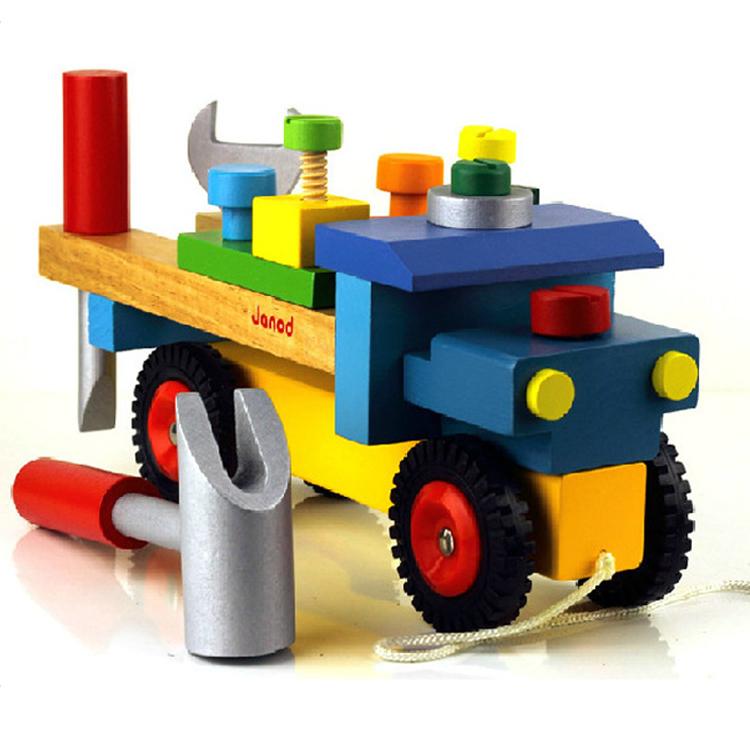 2015 new Handmade diy wooden tool model box baby toys kids building ...
