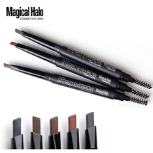 Magical Halo High Quality Automatic Eyebrow Pencil Waterproof With Brush Long-lasting Brand Makeup Cosmetics Eyebrow Pen 5 Color(China (Mainland))