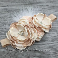 Layered Flower Matching Sparking Rhinestone Headband Handmade Flower Headband Baby Headband