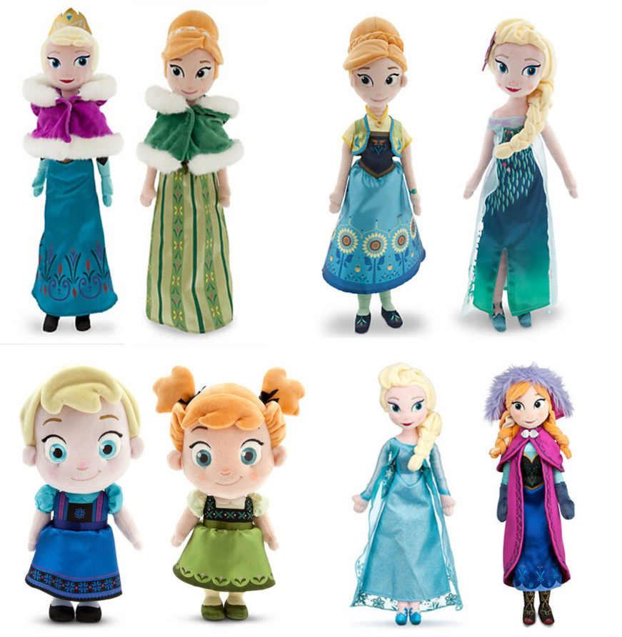 "50CM Elsa Anna Plush Doll Toys Fever Elsa Anna winter spring dress 19.7"" big Princess Stuffed Brinquedos Kids Birthday Gift(China (Mainland))"