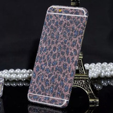 Luxury leopard glitter foil sticker for iphone6 plus body scrub color film for iphone6 Star flash mobile phone protective film
