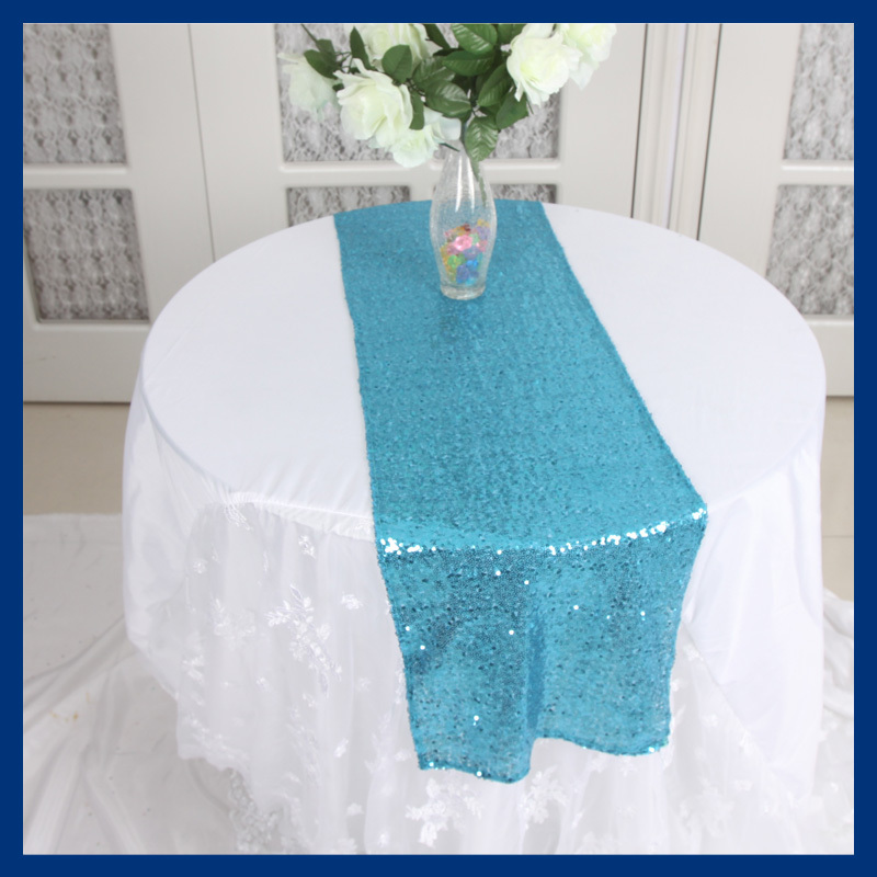 RU002C Nice metalic Aqua blue sequin table runner(China (Mainland))