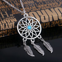 Retail Wholesale Bronze Antique Vintage Turquoise Stone Bead Dreamcatcher Feather Charm Round Shape Pendant Necklace