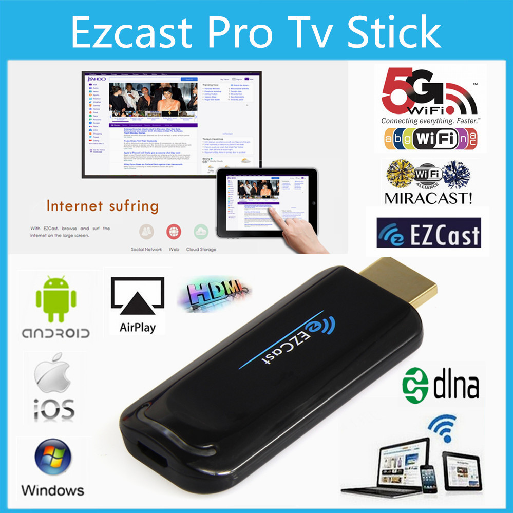 EZCast Pro Dongle Miracast Smart TV Stick DLNA HDMI Mirror TV Dongle TV Stick Airplay Media Player Better than Google Chromecast(China (Mainland))