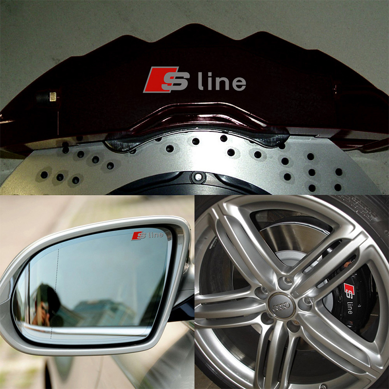 4 pcs Durable RS Sline S line emblem logo Car PVC Race Trim Sticker Caliper Disc Brake wheel cylinder For Audi A4 A6 A5 A7 A3Q3(China (Mainland))