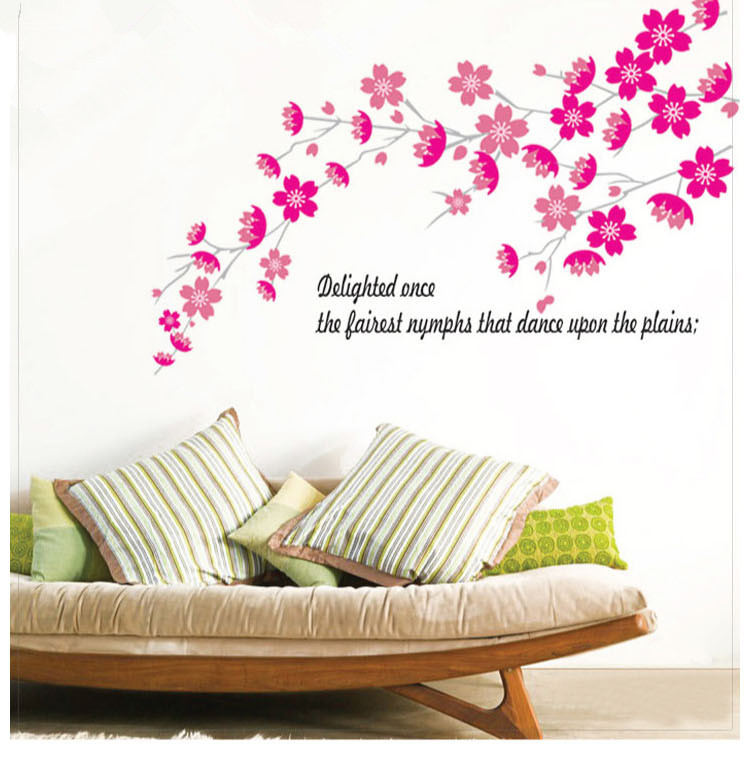 Wedding Bedroom Wall Decoration : Romantic flower bedroom decoration wall stickers diy
