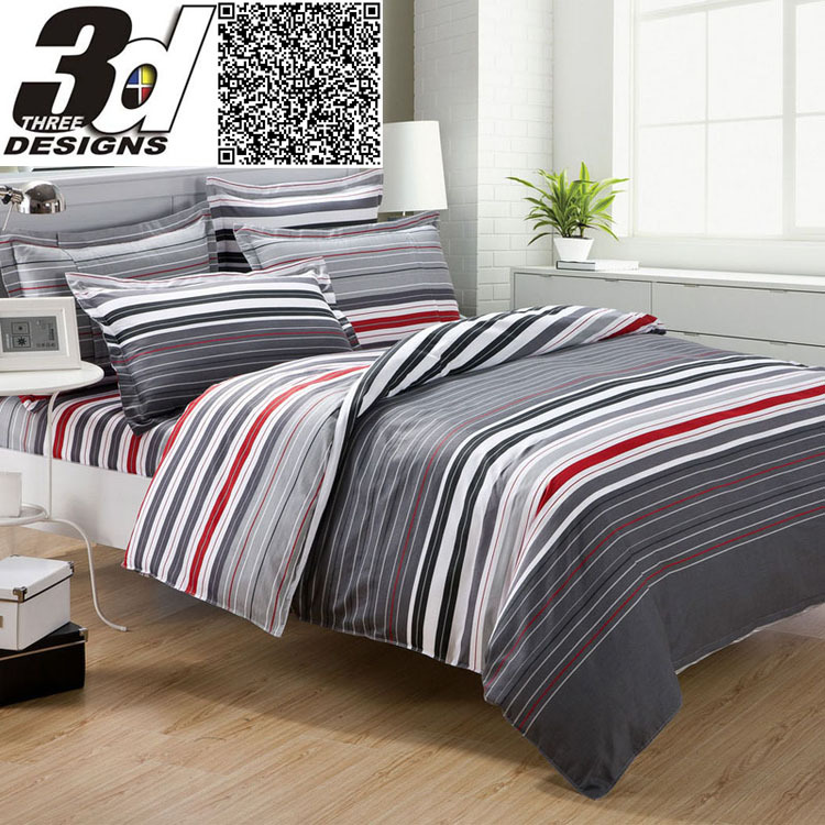 grey and red stripes printing 4pc bedding set queen bed Duvet/Quilt/Comforter covers bedclothes pillow shams sets 100% cotton(China (Mainland))