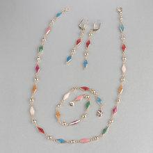 Kinel צבעוני אמייל אישה תכשיטי סט אופנה דובאי זהב זרוק עגילי שרשרת צמיד בציר תכשיטי חתונה סיטונאי(China)