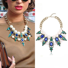 Fashion Chic women Brand luxury Crystal Necklaces & Pendants Waterdrop Resin Vintage choker statement necklace jewelry