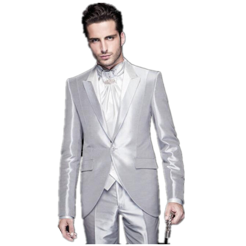 2016 bright silver mens wedding suits tuxedo mens best for Best mens dress shirts 2016