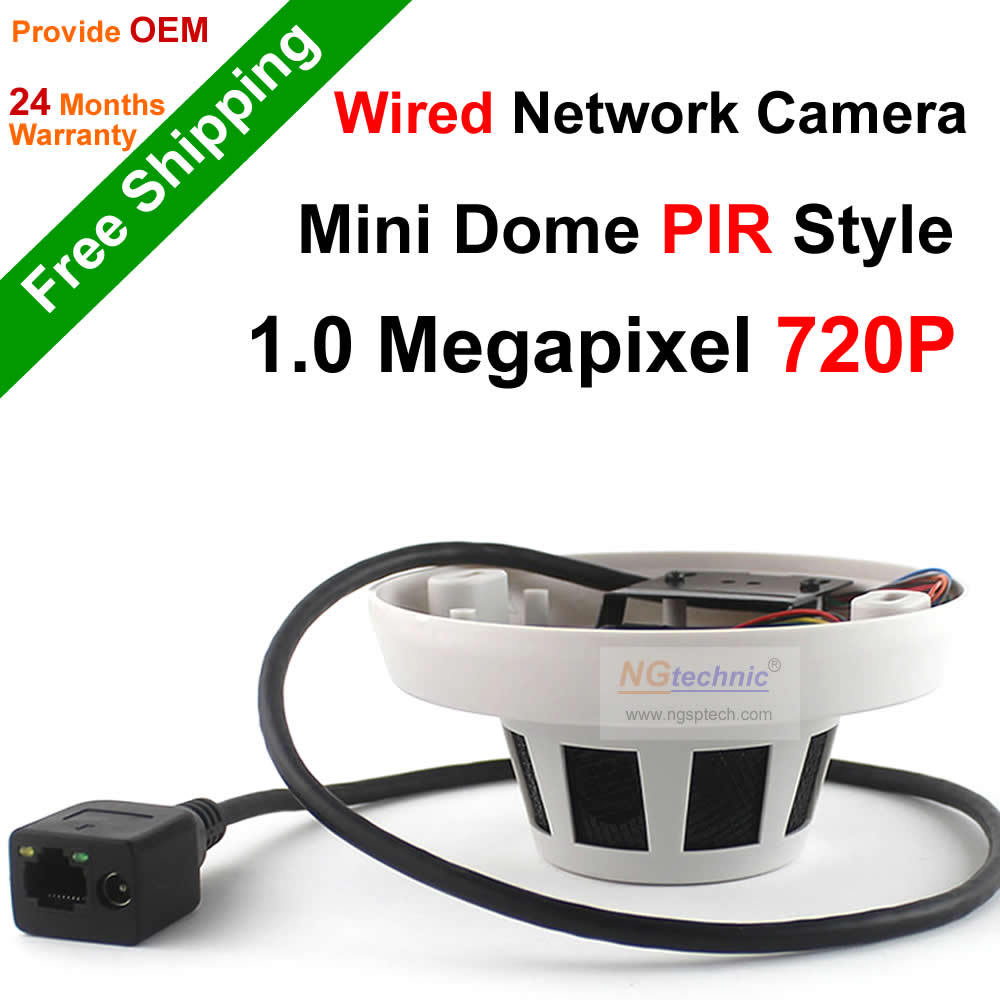 Free Shipping PIR Style Mini Dome H.264 Onvif P2P 1.0 Megapixel 720P motion detect Mini Indoor IP Dome Camera security system(China (Mainland))