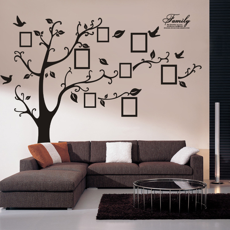 wall stickers home decor wall sticker tree family tree picture photo frame tree wall art. Black Bedroom Furniture Sets. Home Design Ideas