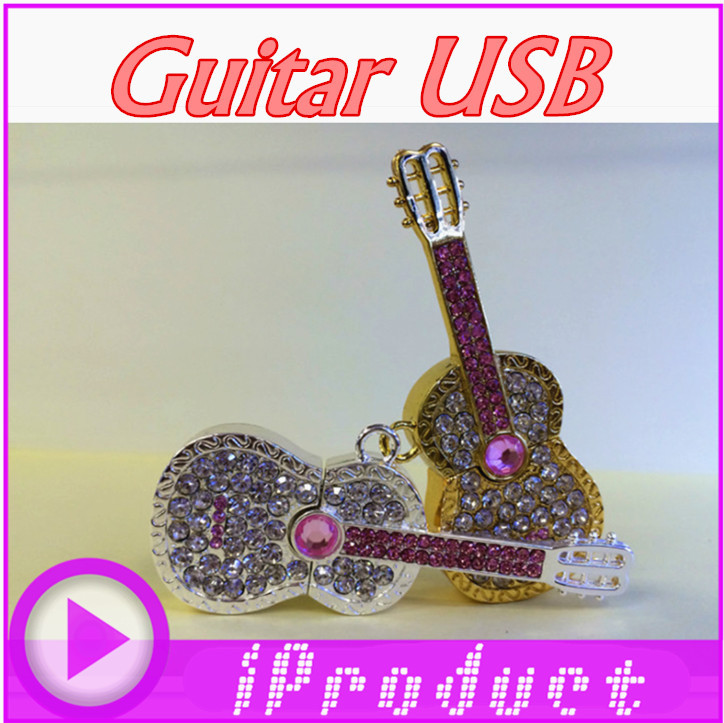 USB Crystal Guitar USB Musical instrument bling bling flash drive music player band music box gift pen disk(China (Mainland))