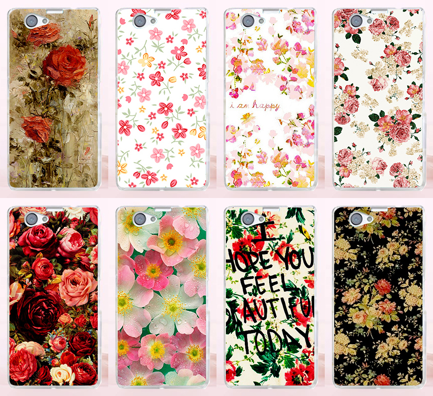 Good Selling Printed Beautiful Rose Peony Flower Phone Cases Covers For Sony Xperia Z1 Mini Z1 Compact Phone Case Cover Shell(China (Mainland))