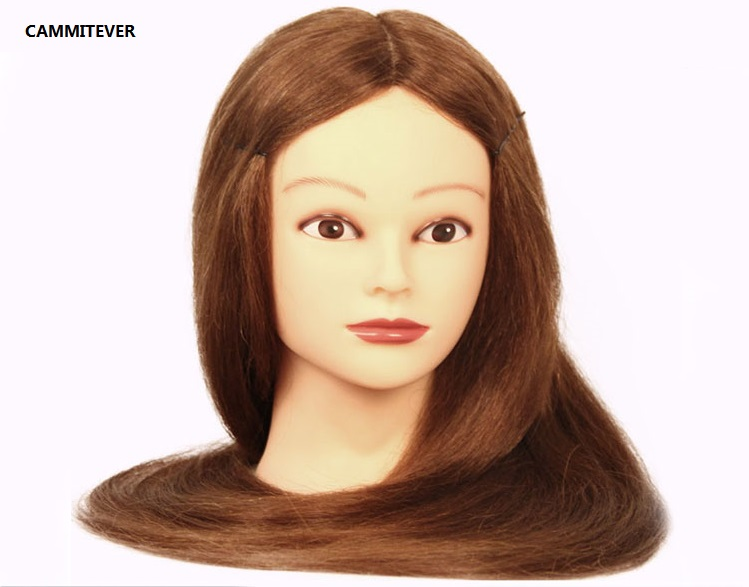 """CAMMITEVER 20"""" Mannequin Head With Blonde Hair Styling Head Wig Heads Hairdressers Hairdressing Manikin Training Wig With Holder(China (Mainland))"""