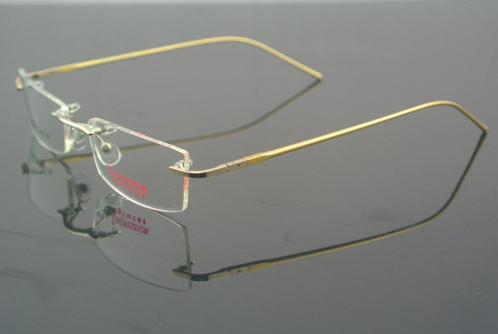 Spring Hingle Rimless Gold Eyeglass Frame Optical Glasses ...