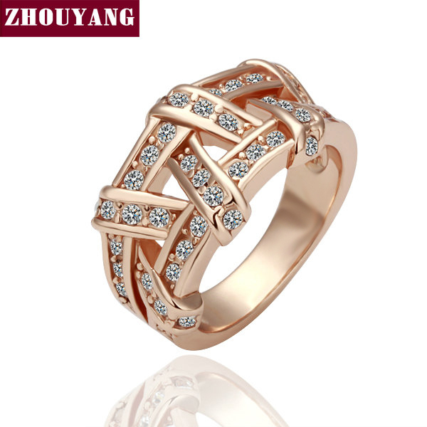 Rose Gold / White Gold Plated Weave Ring Health Jewelry Nickel Free K Golden Plating  CZ ZYR284 ZYR285