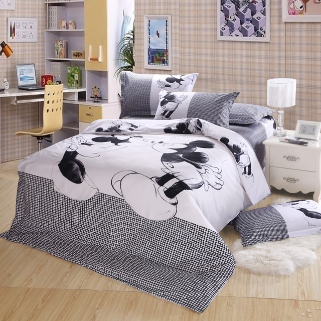 Black and white Mickey Mouse 4pcs Bedding Set Full/Queen/King Size Sheet set/Bed linen/Bedclothes/Duvet Cover set,Free Shipping(China (Mainland))