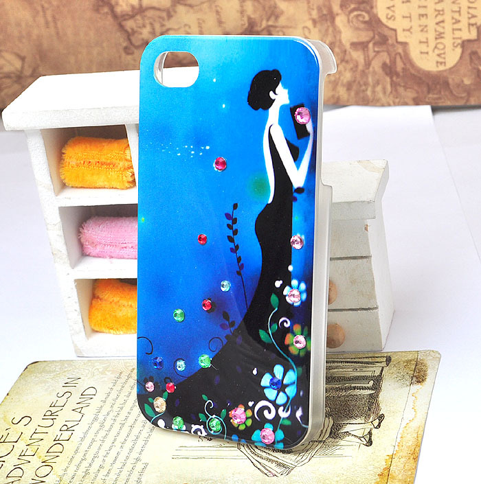 DIY handmade  blue cell phone case for iphone 4/4s  with bling crystal rhinestone  beauty figure [JCZL DIY Shop]