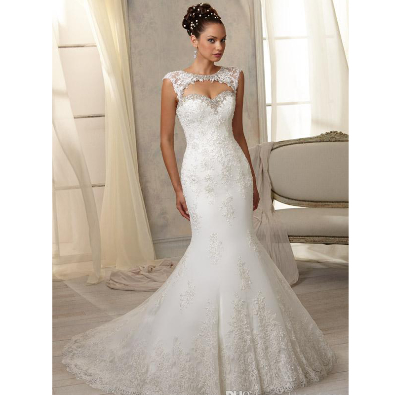 A Fishtail Wedding Dress : Hot sales elegant fishtail wedding dresses hollow back cap