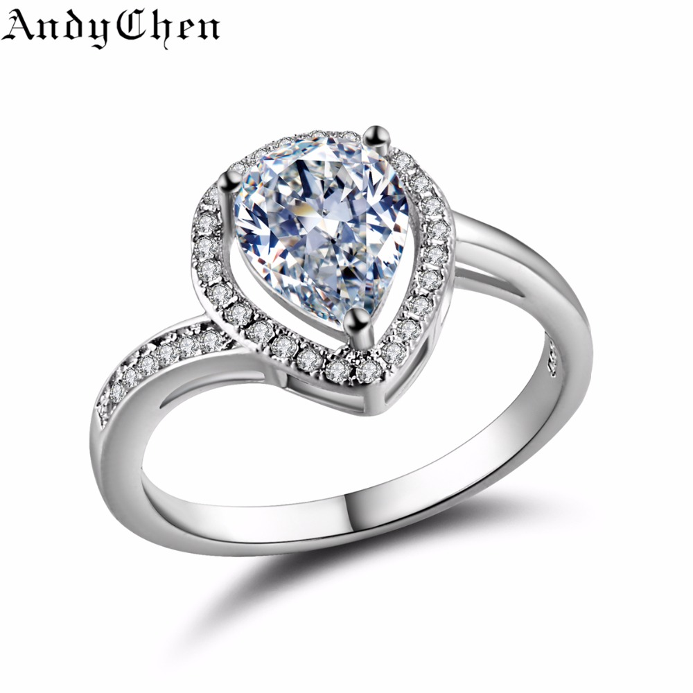 AndyChen Water-Drop Silver Plated Crystal Jewelry Engagement Rings for Women Vintage Wedding Rings Bague Bijoux Femme ASR317(China (Mainland))