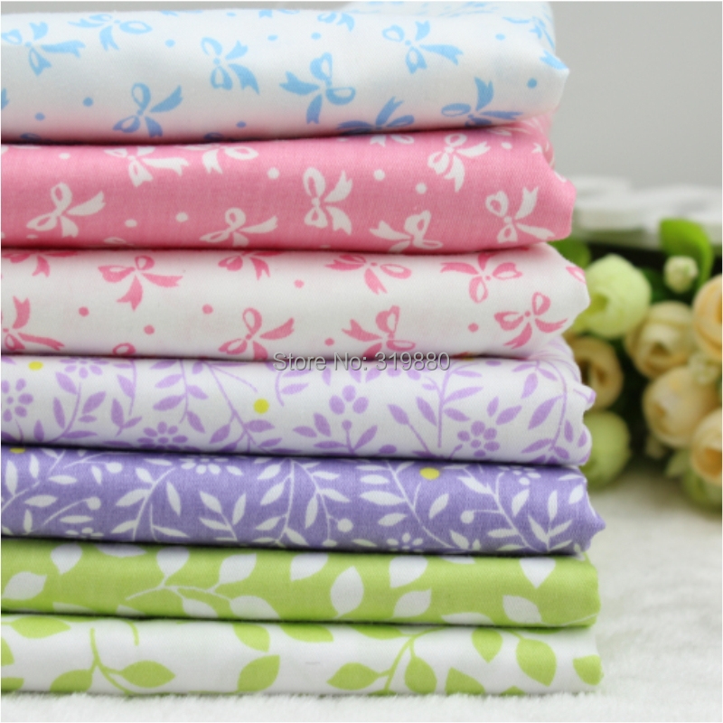 7pcs Cotton Fabric For three bowknot Sewing Quilting Patchwork Textile four color lavender Bedding Fabric 40cm*50cm Wholesale(China (Mainland))