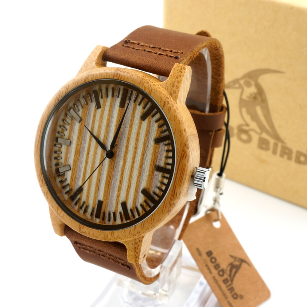 Bobobird Bamboo Wood Watch with Cow Leahter Strap Quartz Analog Unisex Wooden Wristwatch