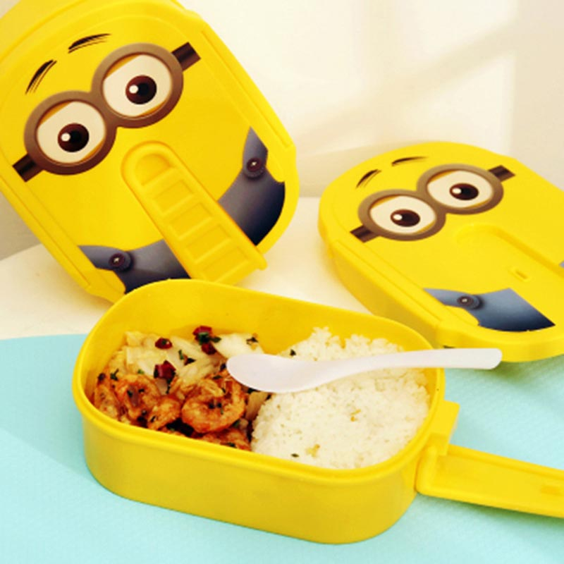 Yellow Cartoon Lunch Box Microwave Oven Bento Container Case Dinnerware Children's Tableware Kawaii Yellow Color(China (Mainland))