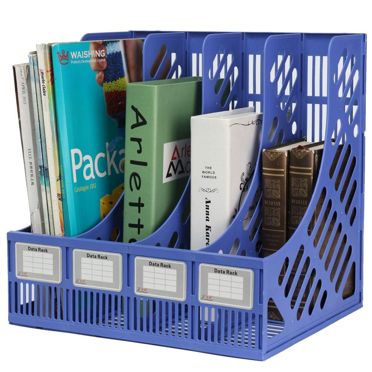 Plastic 4 Section Divider File Rack Paper Magazine Holder Multifunction Storage Hanger Home Office Desktop Book Box Bookshelf(China (Mainland))