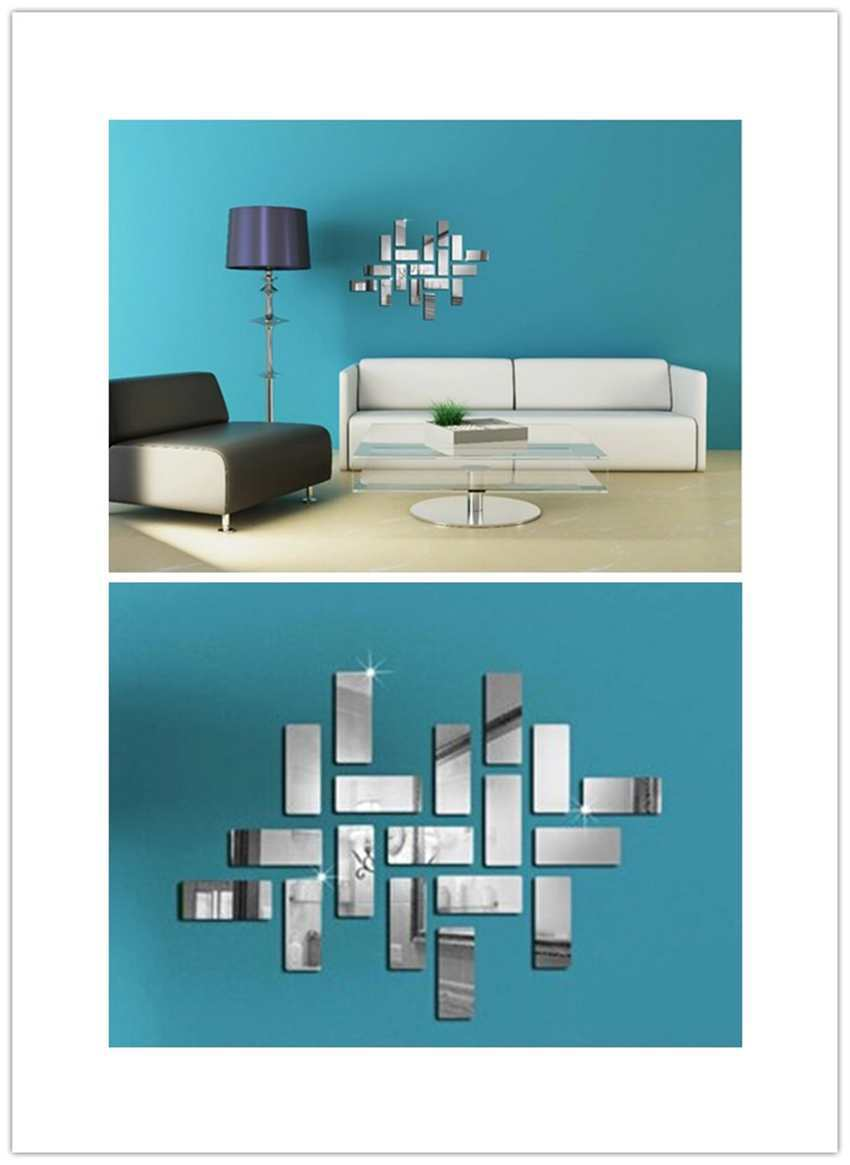 New Home Mordern Decoration Living Room Bedroom 3D Square Mirror Wall Sticker(China (Mainland))