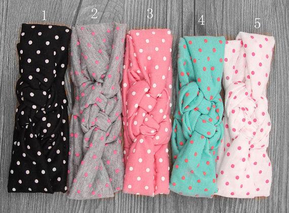 Baby Headband Dot Bow Headband Top Knot Headband Polka Dot Cross Knot Baby Turban Tie Knot Headwrap Hair Accessories(China (Mainland))