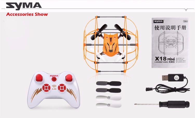 100% Original SYMA X18 4CH Quadcopter Drone 6-Axis Helicopter Gyro with Net Protective Cover RTF 360 Flips 2.4GHz Climb RC Toys