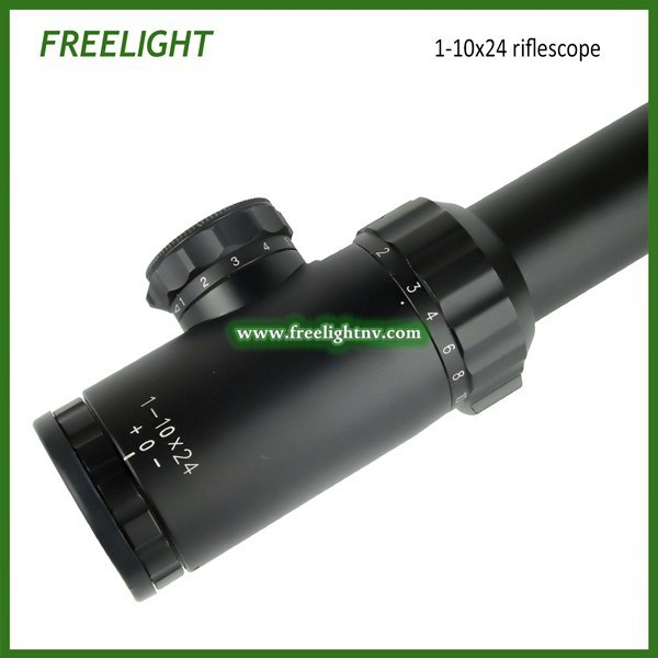 1 10x24 tactical Sniper shooting Rifle scope 10 times zoom Optical Gunsight Ocular adjustable Riflescope Rear