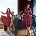 2017 new autumn red plaid long sleeve mini dress women o neck Bow casual dresses Vestidos
