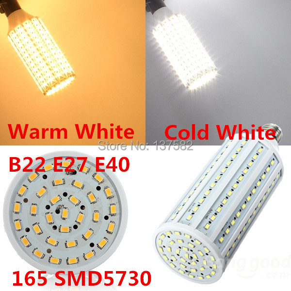 50W LED Corn Bulb 165pcs SMD5730 B22 E27 E40 LED Bulb Light 360degree Warm White/Cold White 85-265V 1pc/lot, free shipping(China (Mainland))