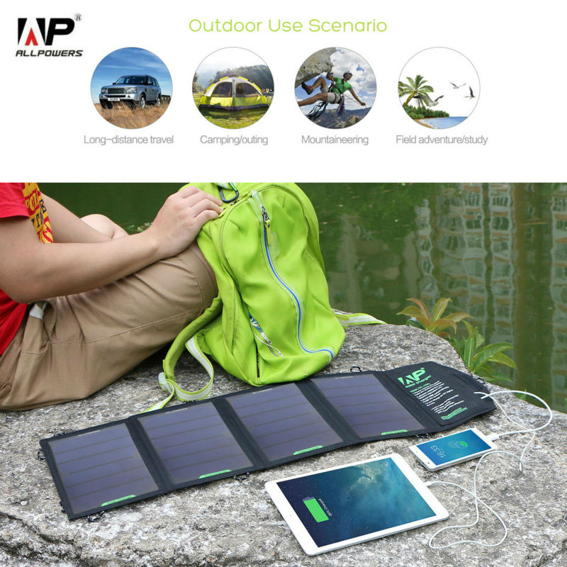 ALLPOWERS Solar Phone Charger 18W 5V Solar Panel Charger Travel Solar Charger for iphone samsung HTC ipad, tablet PC and so on.(China (Mainland))