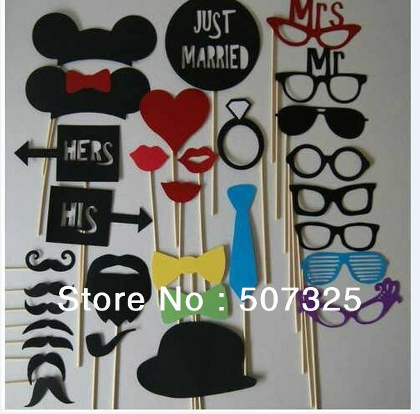 Set of 31 Mustache With A Stick Wedding Photo Booth Props Photobooth Funny Party Masks Bridesmaid Wedding Gifts(China (Mainland))