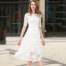 Summer Lace Dresses For Women Hollow Out High Waist Slash Neck Solid Female Vestidos Short Sleeves Slim Robes Black White N609()