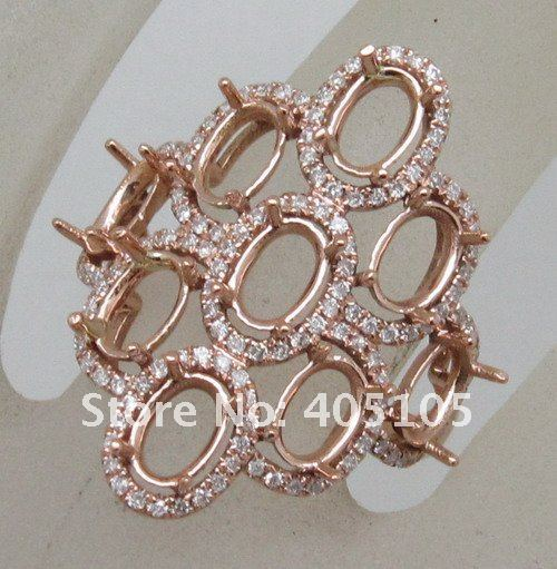 Unique 4x6mm Oval Shape14kt Rose Gold Diamond Anniversary Engagement Semi Mount Ring<br>